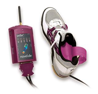Aparelho PEDAR – Permite a medida das pressões plantares dentro do calçado
